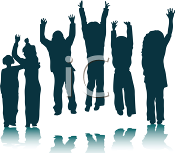 Royalty Free Clipart Image of Children Jumping and Waving