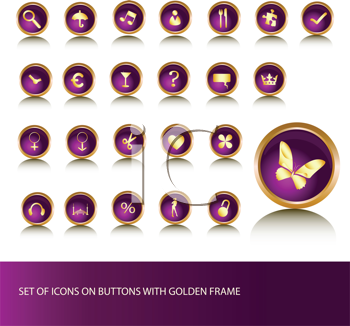 Royalty Free Clipart Image of Buttons On Purple in Gold Frames