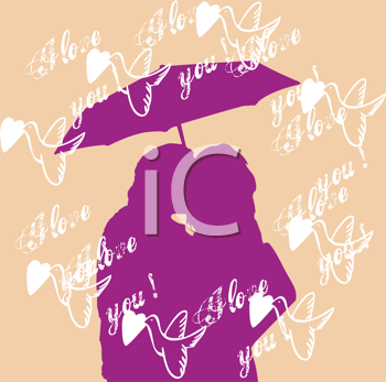 Royalty Free Clipart Image of a Silhouetted Couple Kissing Under an Umbrella