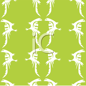 Royalty Free Clipart Image of White Birds on Green