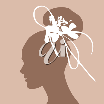 woman silhouette with wedding hairstyle