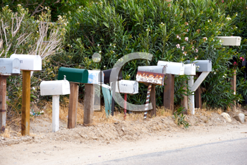 Royalty Free Photo of a Row of Mailboxes