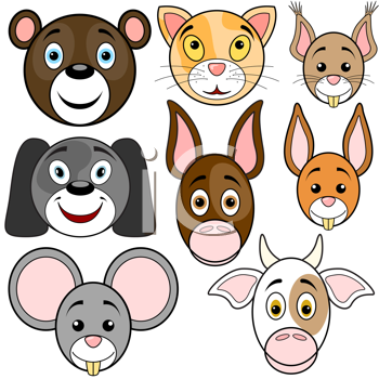 Royalty Free Clipart Image of a Set of Animal Babies' Faces