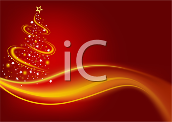 Royalty Free Clipart Image of a Tree With Gold Around It and Below It on a Red Background