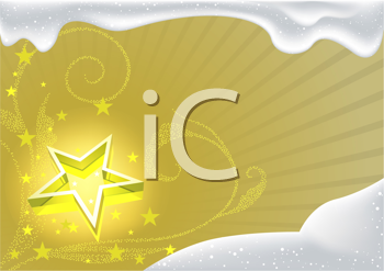 Royalty Free Clipart Image of a Star and Snow Background