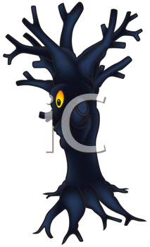 Royalty Free Clipart Image of a Scary Tree