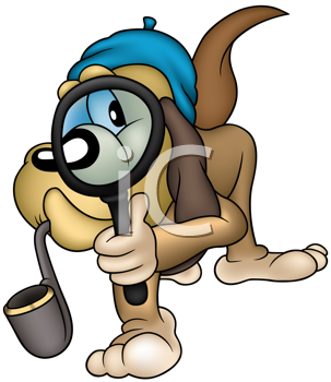 Royalty Free Clipart Image of a Dog Detective