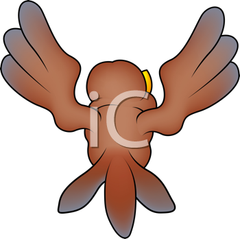 Royalty Free Clipart Image of a Bird Flying Away