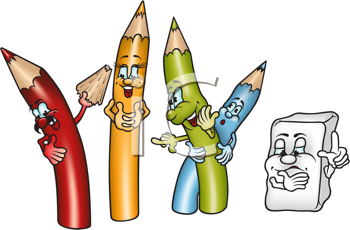Royalty Free Clipart Image of a Set of Crayons and an Eraser
