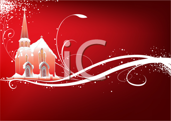 Royalty Free Clipart Image of a Snowy Christmas With a Church