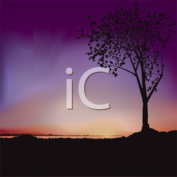 Royalty Free Clipart Image of a Sunrise With a Purple Sky and a Tree