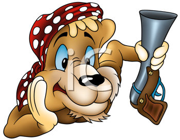 Royalty Free Clipart Image of a Lion Pirate