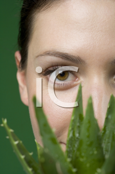 Royalty Free Photo of a Woman Holding a Potted Aloe Vera
