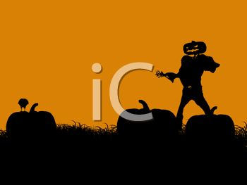 Royalty Free Clipart Image of a Jack-o-Lantern Scarecrow in a Pumpkin Path