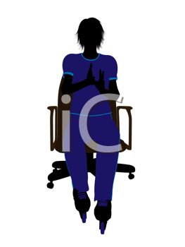 Royalty Free Clipart Image of a Girl Wearing Roller Blades Sitting in a Chair
