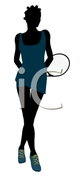 Royalty Free Clipart Image of a Woman With a Tennis Racket