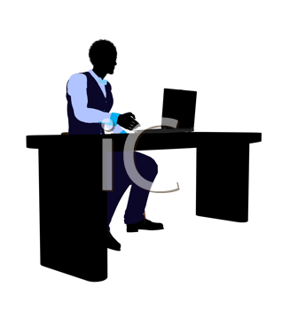 Royalty Free Clipart Image of a Man at a Desk