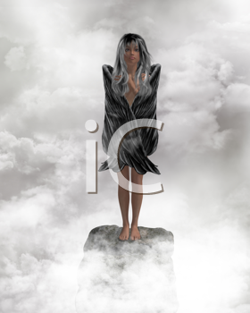 Royalty Free Clipart Image of a Girl in the Clouds
