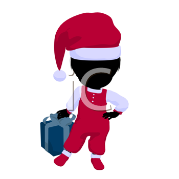 Royalty Free Clipart Image of a Baby Girl in a Santa Costume Holding a Gift