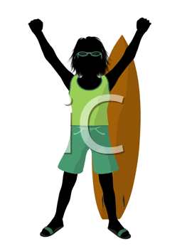 Royalty Free Clipart Image of a Boy and a Surfboard