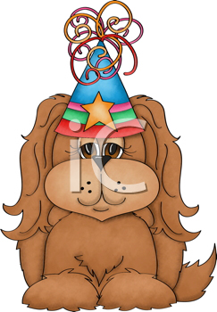 Royalty Free Clipart Image of a Birthday Dog in a Hat