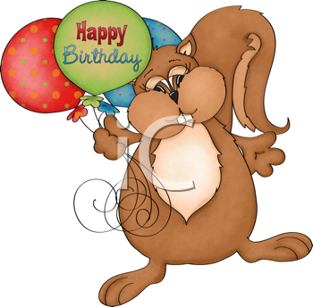 Royalty Free Clipart Image of a Happy Birthday Squirrel With Balloons