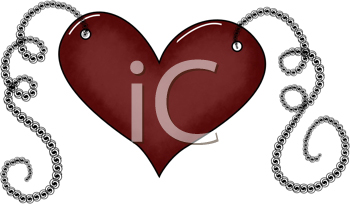 Royalty Free Clipart Image of a Heart on a String