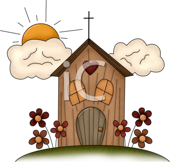 Royalty Free Clipart Image of a Church on a Sunny Day