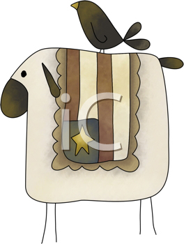 Royalty Free Clipart Image of a Crow and an American Flag on a Sheep's Back