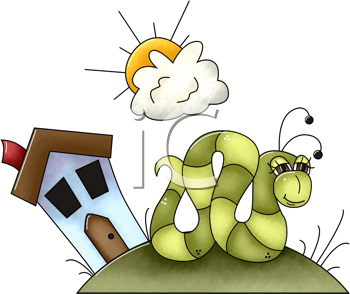 Royalty Free Clipart Image of a Worm in Front of a House