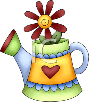 Royalty Free Clipart Image of a Flower in a Sprinkler Can