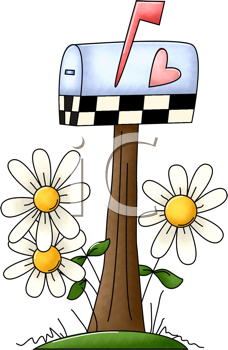 Royalty Free Clipart Image of a Mailbox and Daisies