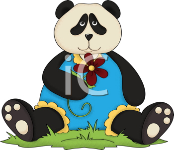 Royalty Free Clipart Image of a Cute Country Panda Holding a Flower