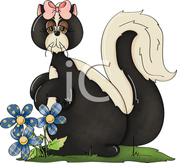 Royalty Free Clipart Image of a Skunk in Spring