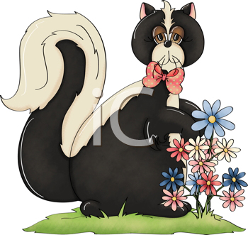 Royalty Free Clipart Image of a Skunk at Flowers