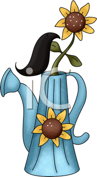 Royalty Free Clipart Image of Sunflowers in a Watering Can