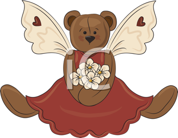 Royalty Free Clipart Image of an Angel Bear