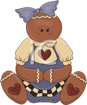 Royalty Free Clipart Image of a Gingerbread Doll