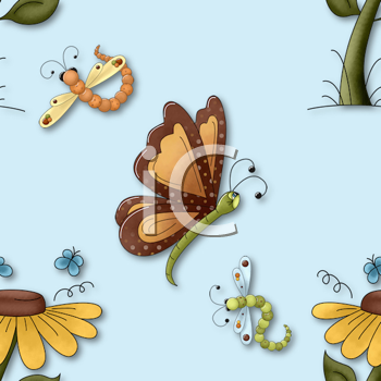 Royalty Free Clipart Image of a Flower, Butterfly and Dragonfly Background