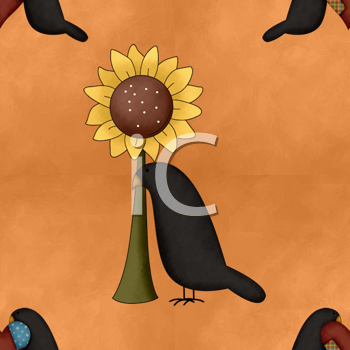 Royalty Free Clipart Image of a Sunflower and Crow Background