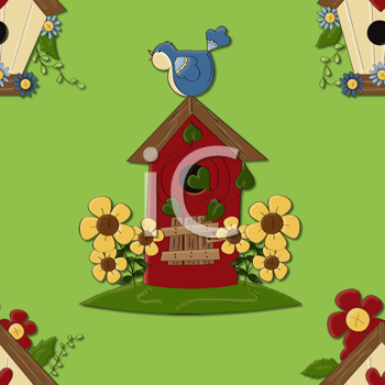 Royalty Free Clipart Image of a Birdhouse Wallpaper