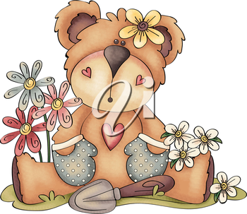 Royalty Free Clipart Image of a Bear Gardening