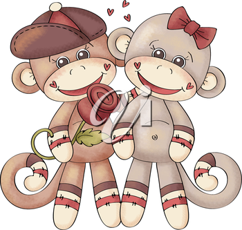 Royalty Free Clipart Image of a Monkeys in Love