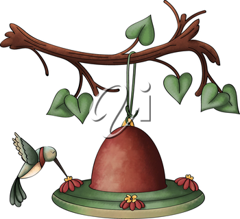 Royalty Free Clipart Image of a Hummingbird Drinking at a Feeder