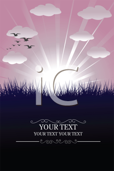 Royalty Free Clipart Image of a Background With Pink Sky, Clouds and Birds