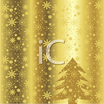 Royalty Free Clipart Image of a Golden Winter Background