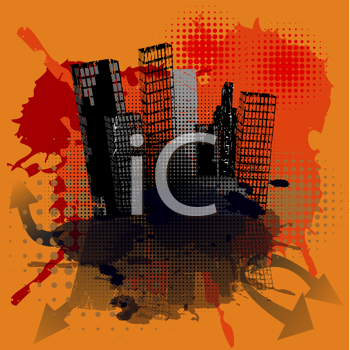 Royalty Free Clipart Image of a City on a Grunge Orange Background