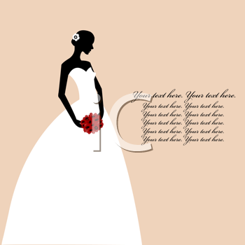 Royalty Free Clipart Image of a Bride With Space for Text