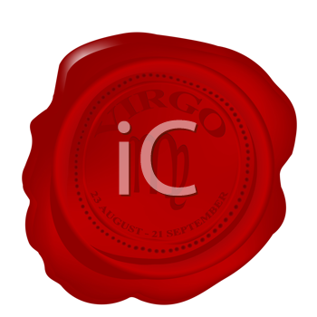 Royalty Free Clipart Image of a Wax Seal With a Virgo Zodiacal Symbol
