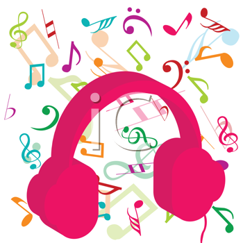 Pink headphones on background with musical notes